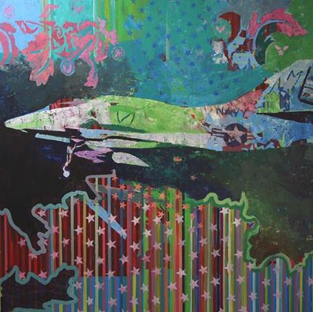 Flying colours 1, 120x120 cm