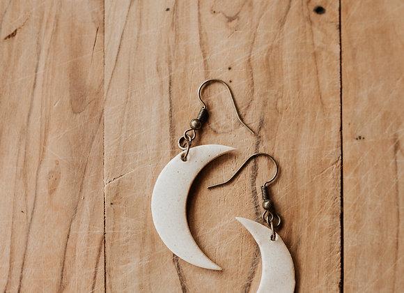 White Moon Earring