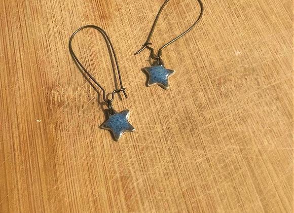 Rustic Blue Star Earring