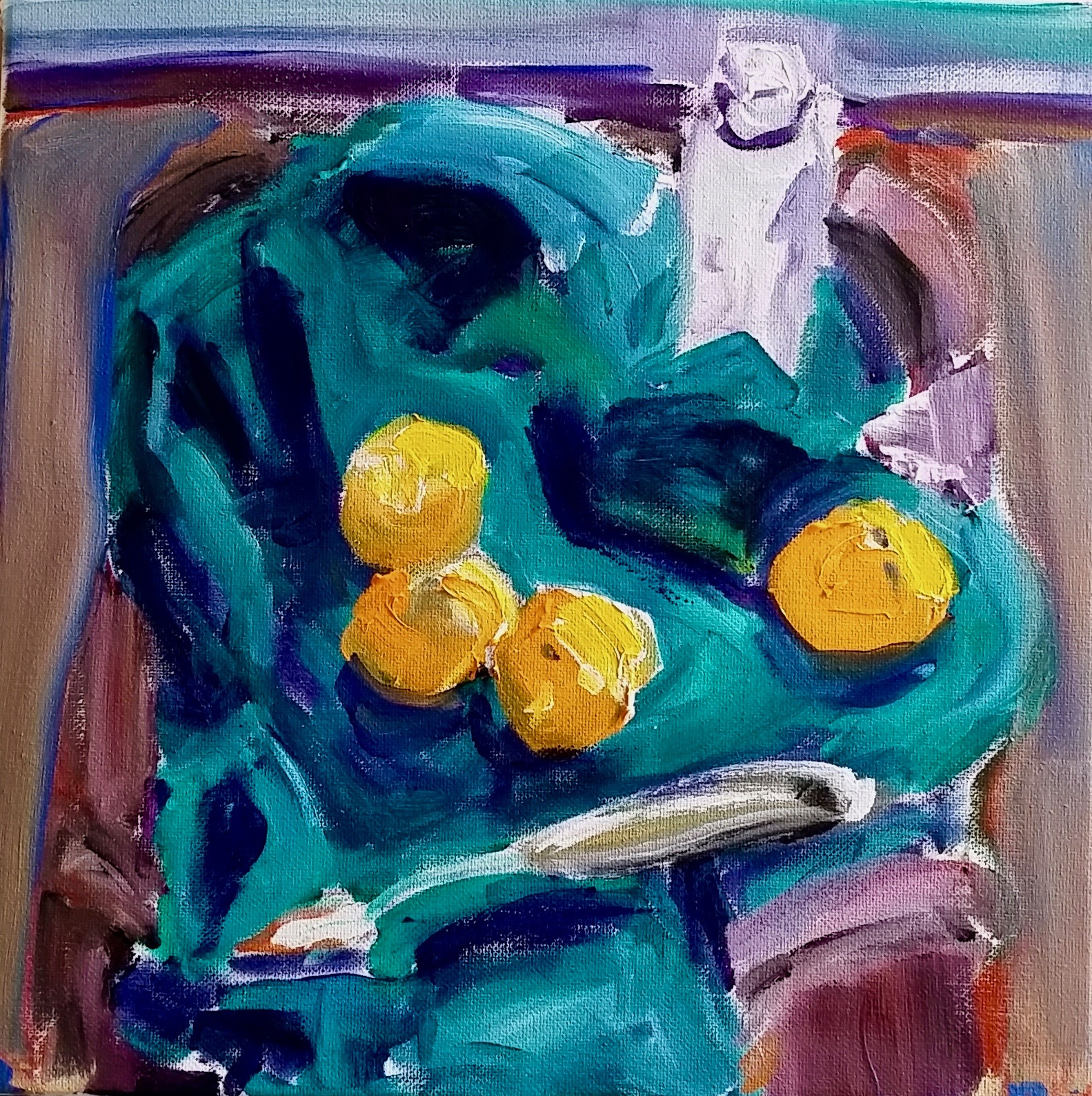 Tangerines and palette knife