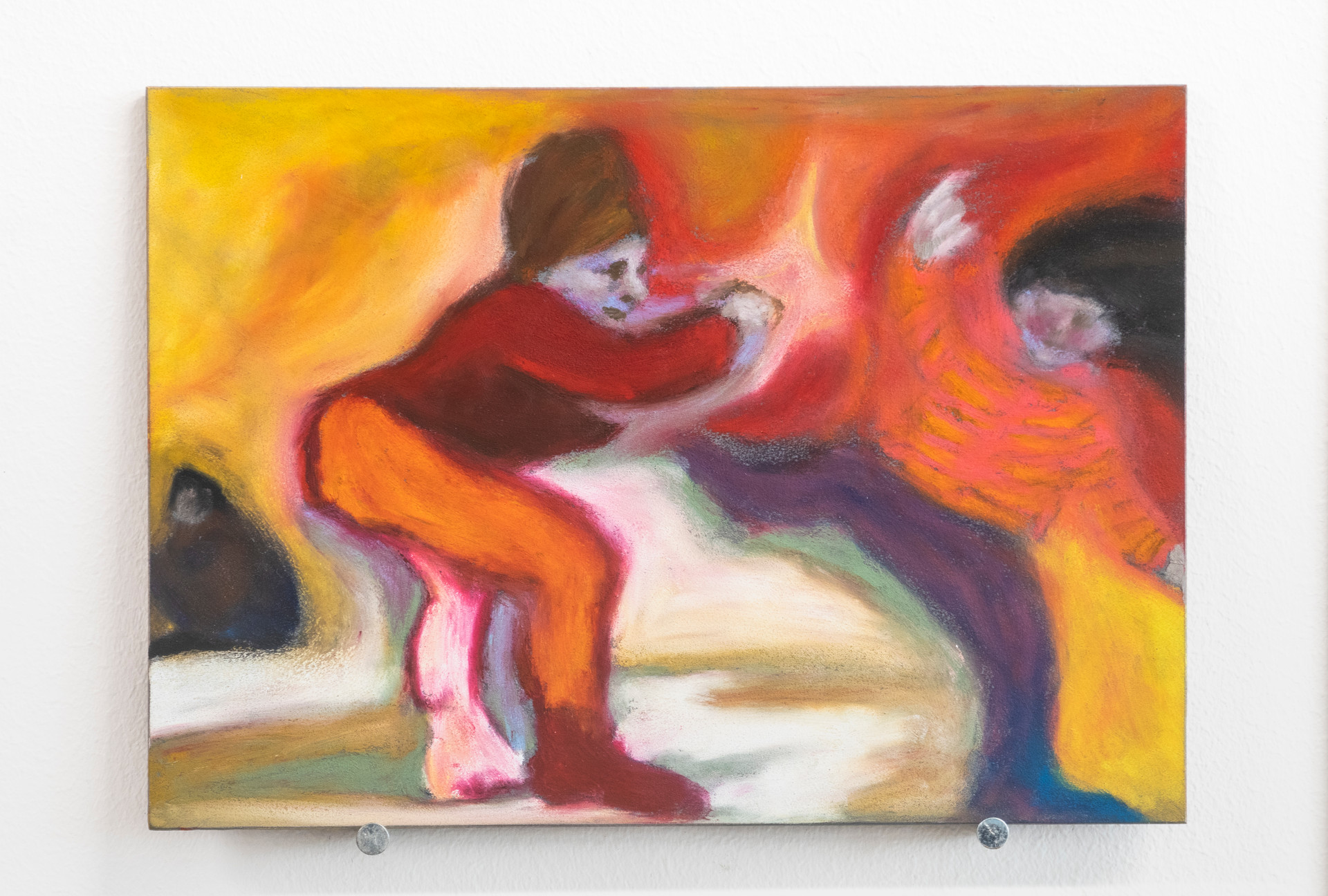 Eleanor Wang, Balancing on Jujube Berries, Oil pastel on panel, 17.8 x 12.7cm