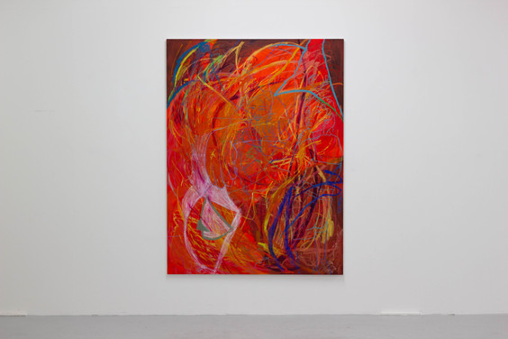 Er mei or second sister, 2021. Oil, acrylic and oil pasttel on canvas mix, 182 x 137cm