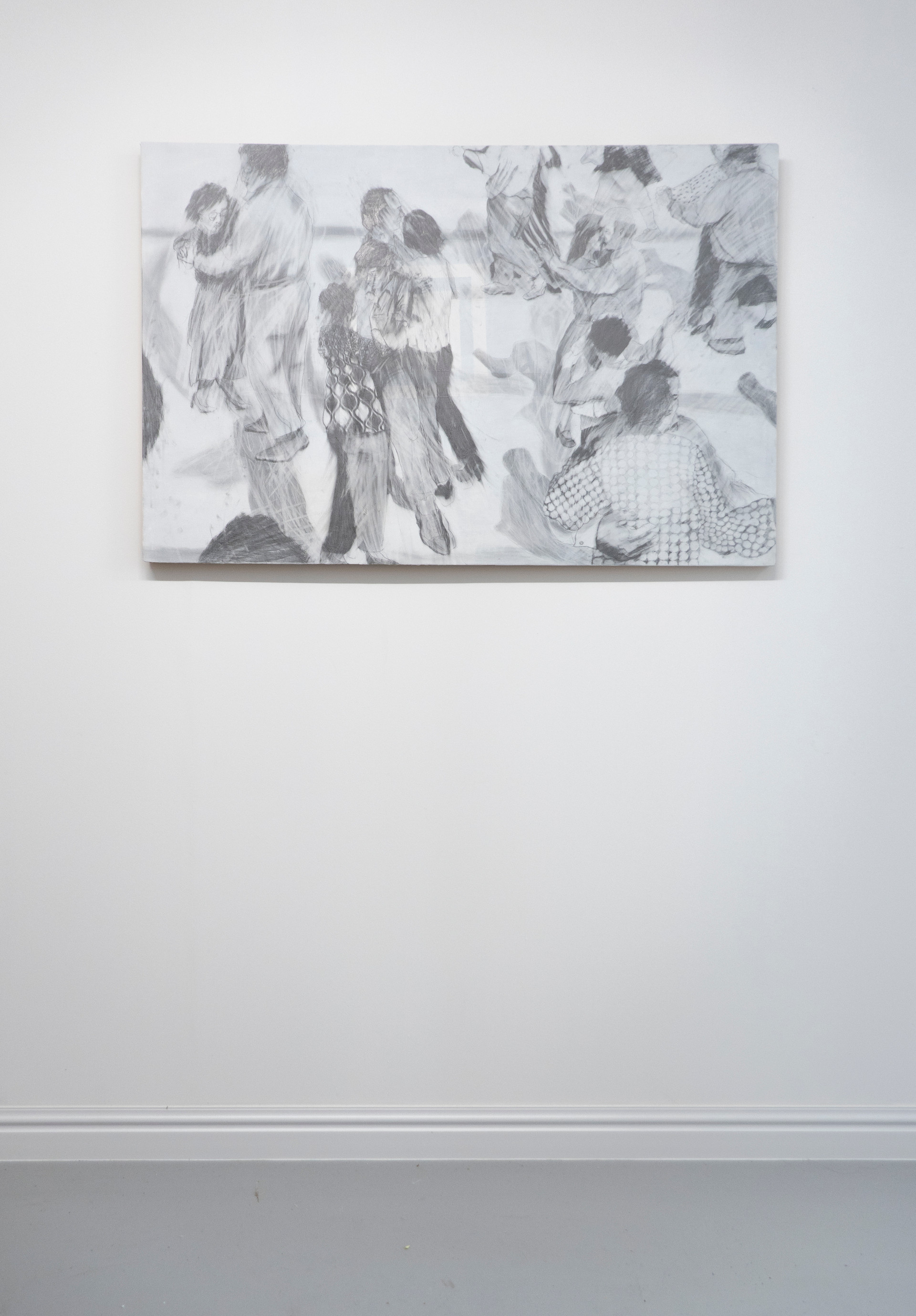 Eleanor Wang, People's Park Routine, Graphite on wood, 122 x 80cm