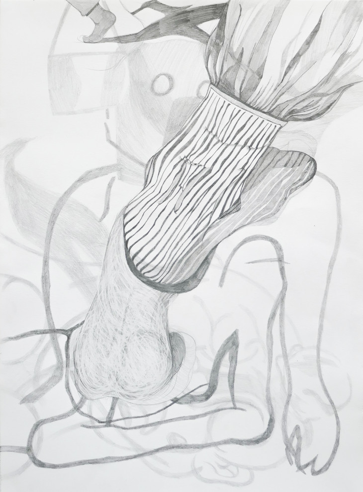 Eleanor Wang, Heel toe or walk your own way, pencil on paper