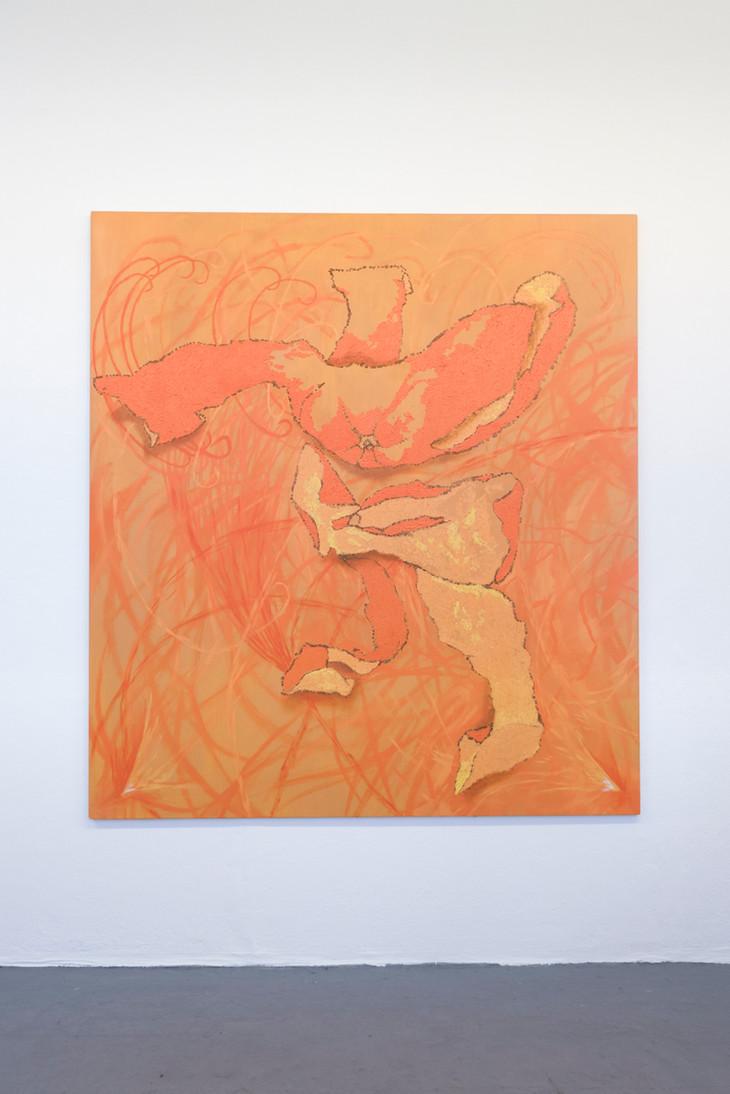 Eleanor Wang, Orange Peel Man, 2018. Oil on canvas, 153 x 168cm