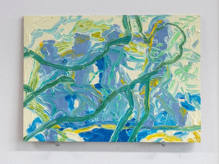 Eleanor Wang, An Inseperable Companion, Oil on panel, 17.8 x 12.7cm