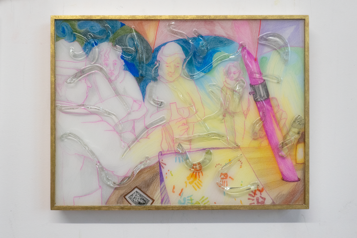 Eleanor Wang, Birthdays party, 2020. Graphite, coloured pencil, resin and glass on panel, 40.6 x 30.5cm