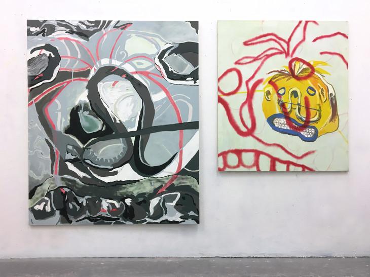 Foam, 2017. Oil and acrylic on canvas, 210 x 165cm (Left). Foam Forensic, 2017. Oil and acrylic on canvas, 138 x 119cm