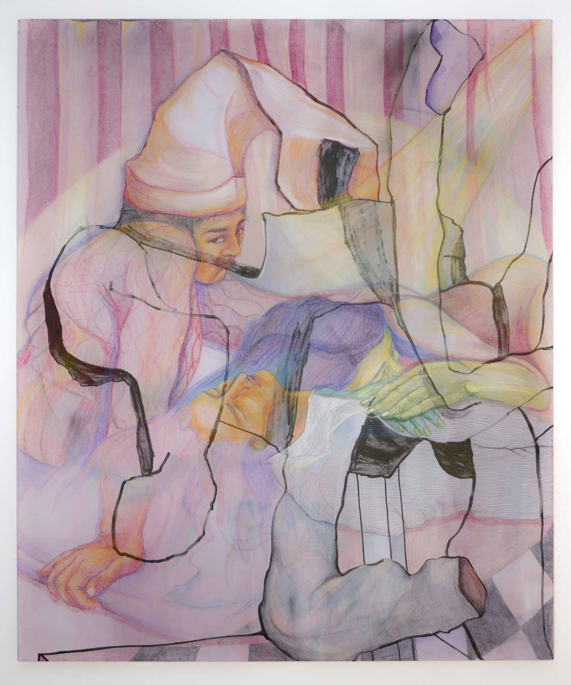 Eleanor Wang, In this version, they're just sleeping, Acrylic and coloured pencil on canvas, 102 x 122 x 2.5cm