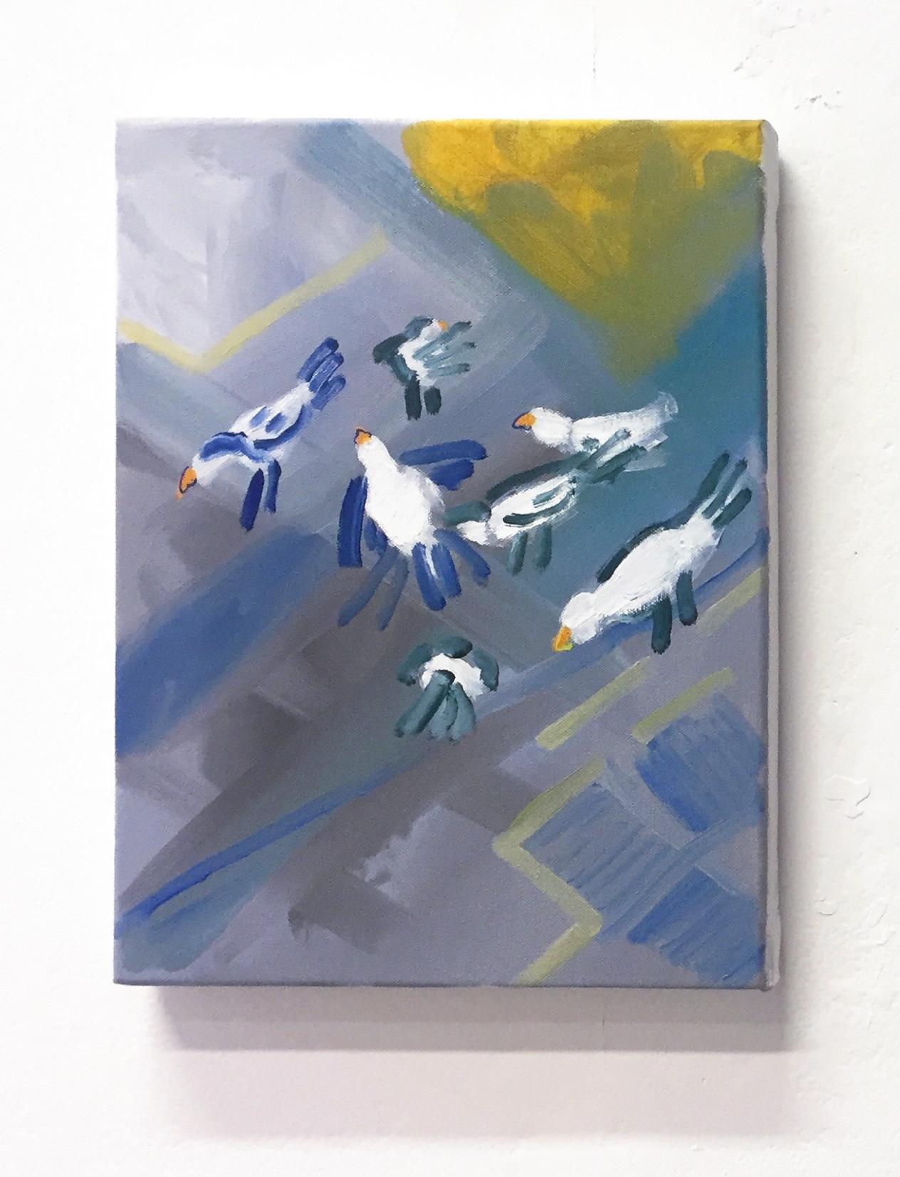 Eleanor Wang, Litang Birds, 2016. Oil on canvas, 30 x 40cm