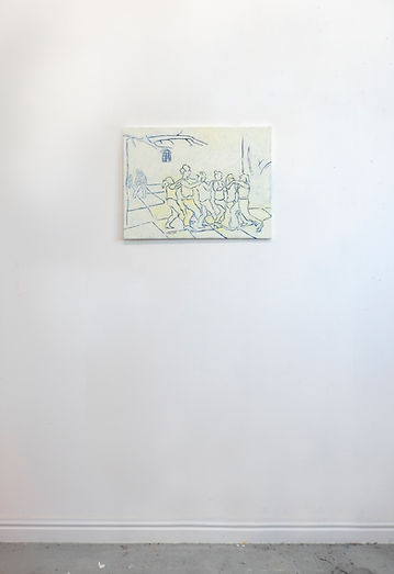 Install Untitled (line dance), Oil and a