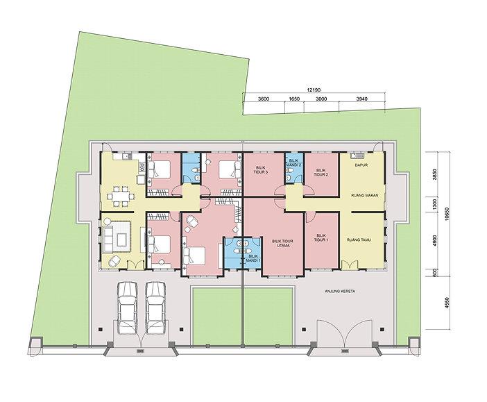 Rumah Berkembar Jenis B 50' X 65' (Floor