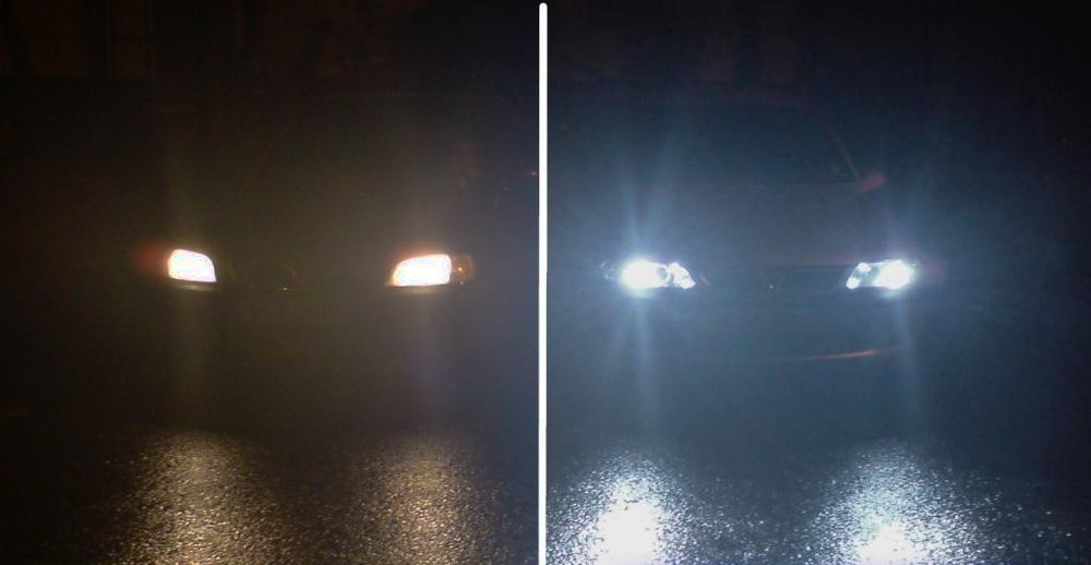 Headlights before and after SuperGlass Headlight Restoration
