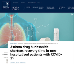 Asthma drug budesonide shortens recovery time in non-hospitalised patients with COVID-19