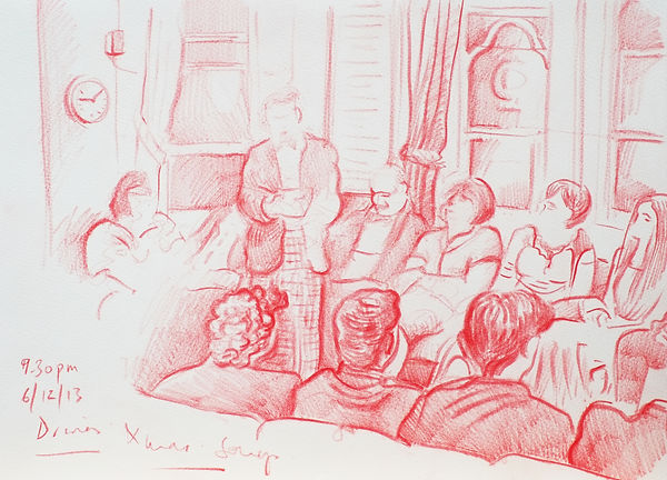 A Harrow Journey - Head of House as MC at Xmas Songs, Druries, 6-12-13 Crayon on paper. Simon Page