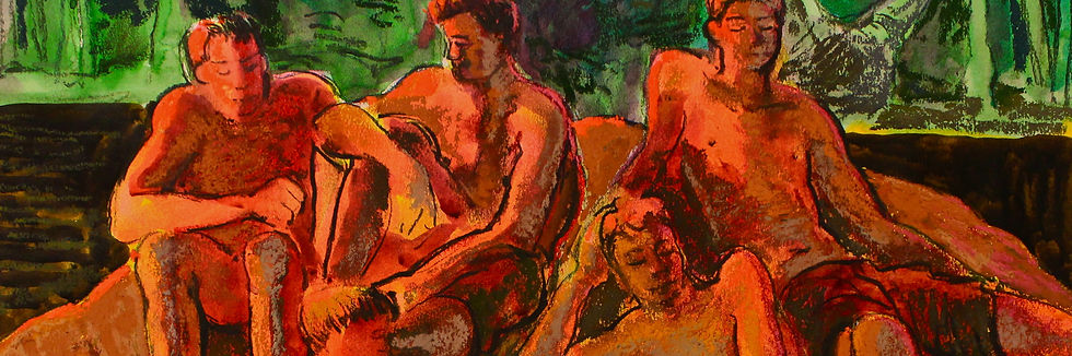 A Harrow Journey - Bathers. Ink and pastel on paper, 2012. Simon Page