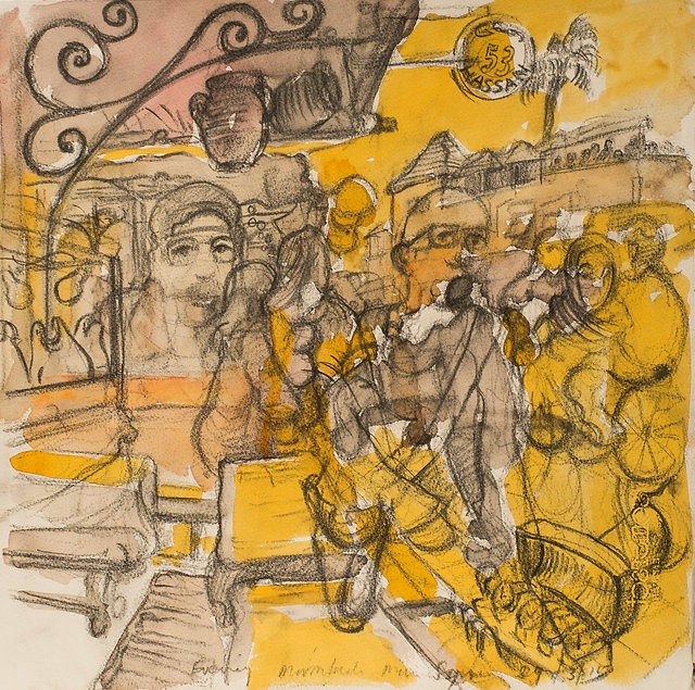 Marrakech Suite- The watch seller, El Fnaa, 29-3-15 Crayon and watercolour on paper. Simon Page