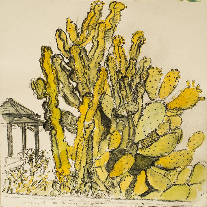 Marrakech Suite- Garden ofRiuPalmer, 27-3-15 Crayon and watercolour on paper. Simon Page