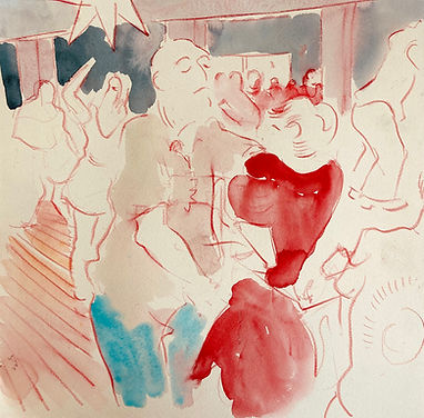 Sketch from Ceroc at Southport 2021, watercolour and crayon, Simon Page