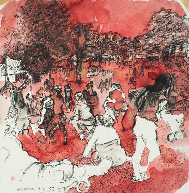 Festival drawings - Sunday afternoon, Cornbury Park, Wilderness Festival, 9-8-15 Crayon and wash on paper. Simon Page