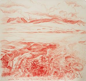 Tanera Mor, drawing III, the Summer Isles. Crayon on paper, Simon Page, 2014