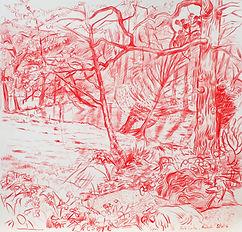 A Harrow Journey - Towards Park Lake, 5-4-14. Crayon on paper. Simon Page