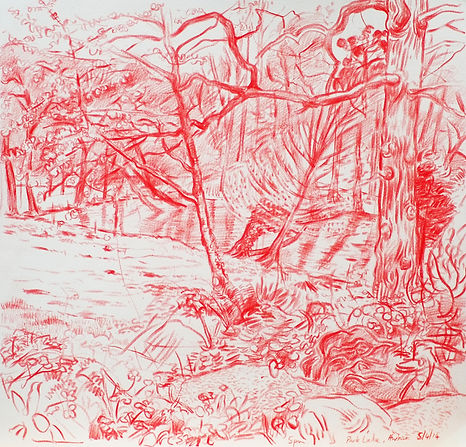 A Harrow Journey - Towards Park Lake, 5-4-14. Crayon on paper. Simon Page