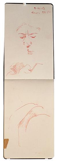 9-10-18 Bkr Street.Tube traveller drawing. Simon Page