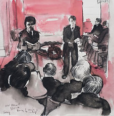A Harrow Journey - Remembrance Sunday, The War Memorial, Harrow School, music and words, 9-11-14. Crayon and wash on paper. Simon Page