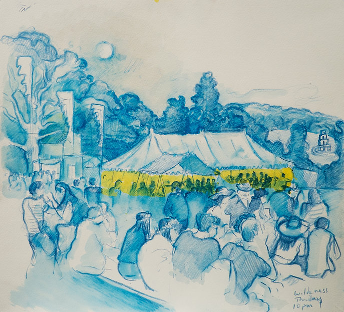Festival drawings- Full Moon over The HixTent, Cornbury Park, Wilderness Festival,August 2015 Crayon and wash on paper. Simon Page