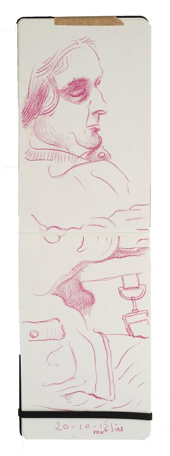 Tube Travellers- The Metropolitan Line, 20-10-15. Crayon on paper. Simon Page