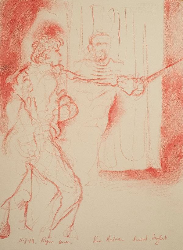 Sir Andrew sword fight, 11-3-19, Ryan dress. Harrow School, Twelfth Night, The Globe, Simon Page