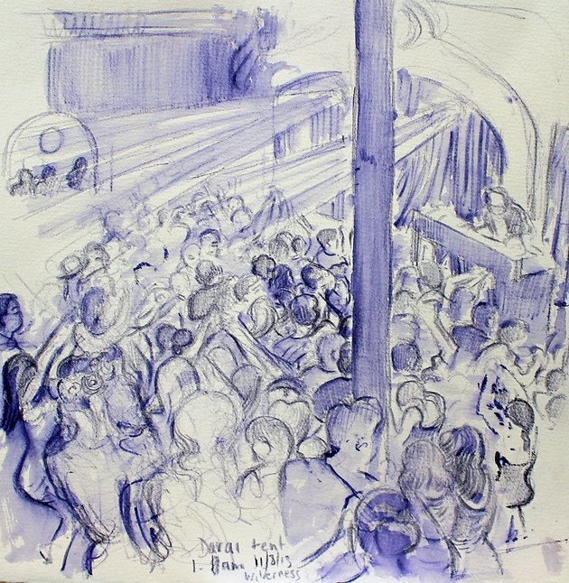 Festival drawings- Davai Tent, 1am, Cornbury Park, Wilderness Festival, 11-8-13 Crayon and wash on paper. Simon Page