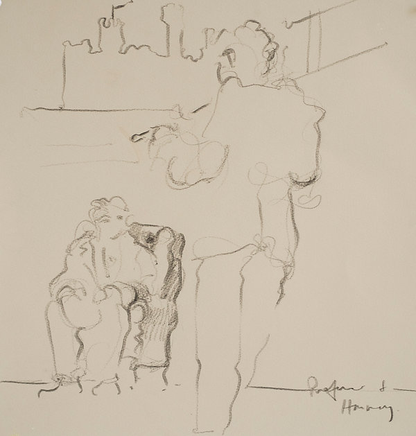 A Harrow Journey - 39 Steps,Hannay and the professor,Rendalls House Play - rehearsal, January 2016 Crayon on paper. Simon Page