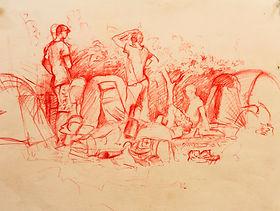 Campsite Ville Hautes, Cevennes, June 2011. Crayon on paper. Simon Page