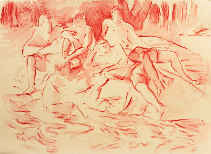 A Harrow Journey - Altier Swimming 30-6-12.Crayon and wash on paper. Simon Page
