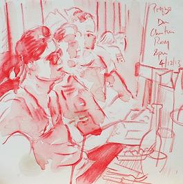 A Harrow Journey - Dan, Christian and Rory, Prezzo, 4-12-13. Crayon and wash on paper. Simon Page
