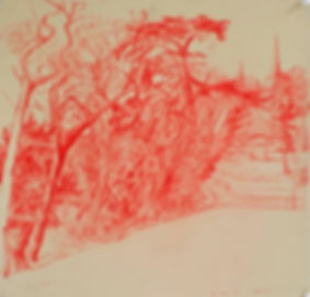 A Harrow Journey - From the Park Lake football field, 29-12-15. Crayon on paper. Simon Page