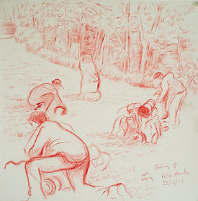 Early Morning, packing up, Villes Hautes. Crayon on paper. Simon Page