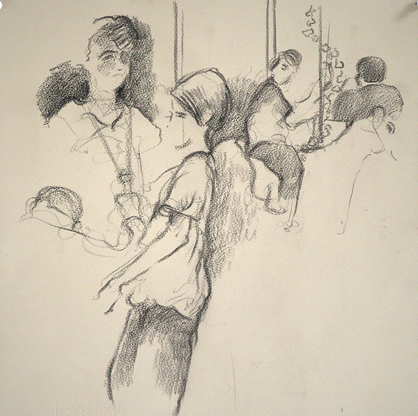 A Harrow Journey - Rattigan Society, Midsummer Night's Dream, rehearsal, light shining, Ryan Theatre, 26-11-15. Crayon on paper. Simon Page