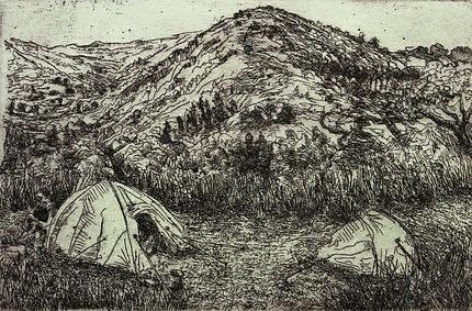A Harrow Journey - The Cevennes, Nomad I, 2011. Etching. Simon Page
