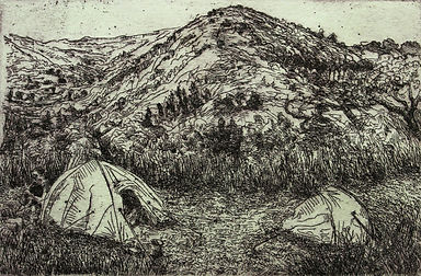 Nomad, etching 2011. Simon page
