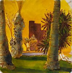 Marrakech Suite- Medina Gardens, June 2016 Crayon and watercolour on paper. Simon Page
