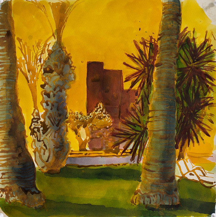 Marrakech Suite - Medina Gardens, June 2016 Crayon and watercolour on paper. Simon Page