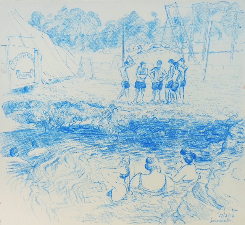 19-7-14, 1pm, preparing for the dive, Somersault Festival. Crayon on paper. Simon Page