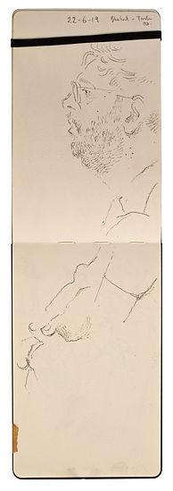 22-6-19 Baker Street - Preston Road.Tube Traveller drawing. Simon Page