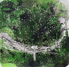 A Harrow Journey - By the 7th tee, the Short Ducker course, 10-4-14. Ink and watercolour on paper. Simon Page