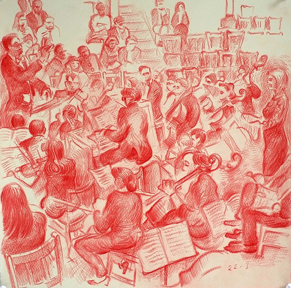 A Harrow Journey - St Matthew's Passsion, The Choral Society, Speech Room, 22-3-16. Crayon on paper. Simon Page