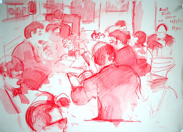 A Harrow Journey - The Knoll, Finds Dinner, 19-4-13. Crayon and wash on paper. Simon Page