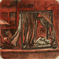 Marrakech Suite: the gust of wind, Medina Gardens. Crayon and ink on paper. Simon Page